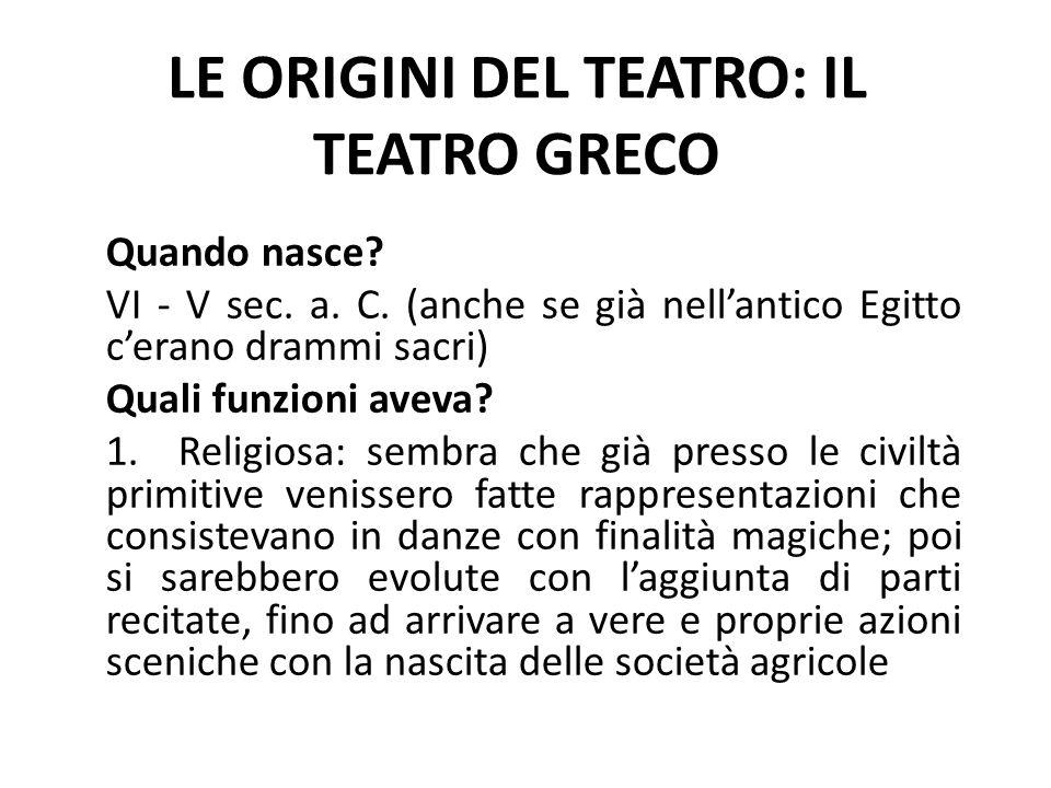 L'origine del teatro greco è riconducibile al culto di Dioniso, divinità legata alla vegetazione, alla vite e al vino, simbolo della forza vitale e dell'istinto 2.