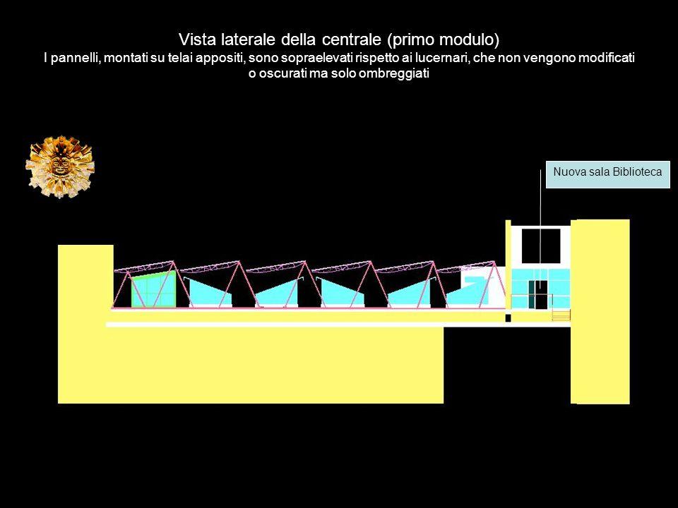 Vista laterale della centrale (primo modulo) I pannelli, montati su telai appositi, sono sopraelevati rispetto ai lucernari, che non vengono modificat