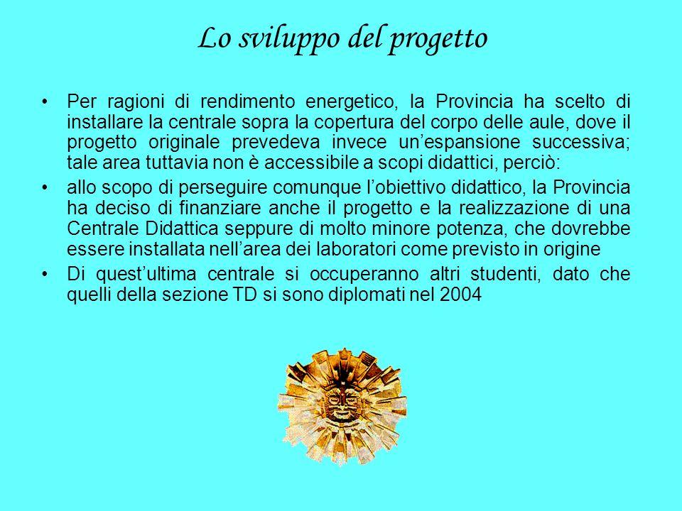 Lo sviluppo del progetto Per ragioni di rendimento energetico, la Provincia ha scelto di installare la centrale sopra la copertura del corpo delle aul
