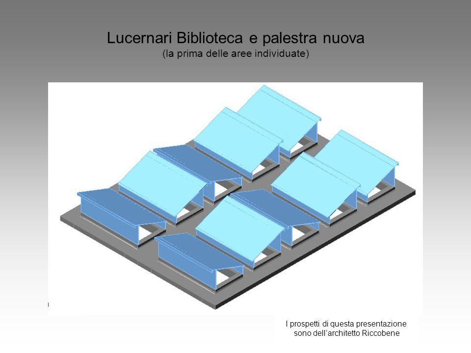 Lucernari Biblioteca e palestra nuova (la prima delle aree individuate) I prospetti di questa presentazione sono dell'architetto Riccobene