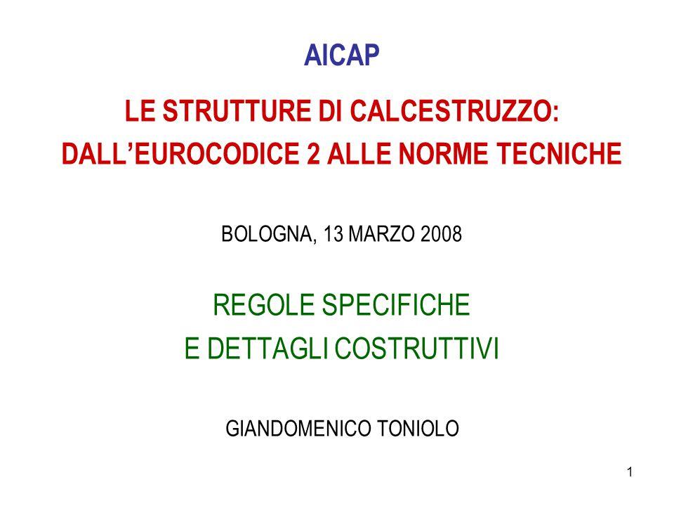 1 AICAP LE STRUTTURE DI CALCESTRUZZO: DALL'EUROCODICE 2 ALLE NORME TECNICHE BOLOGNA, 13 MARZO 2008 REGOLE SPECIFICHE E DETTAGLI COSTRUTTIVI GIANDOMENI