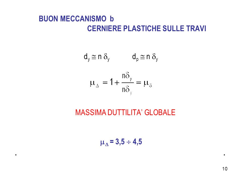 10 BUON MECCANISMO b CERNIERE PLASTICHE SULLE TRAVI d y  n  y d p  n  y MASSIMA DUTTILITA' GLOBALE   = 3,5  4,5.
