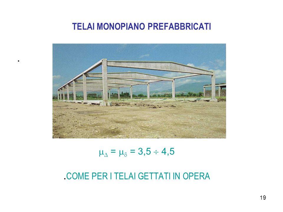 19 TELAI MONOPIANO PREFABBRICATI.   =   = 3,5  4,5. COME PER I TELAI GETTATI IN OPERA