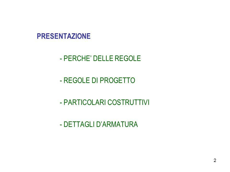 2 PRESENTAZIONE - PERCHE' DELLE REGOLE - REGOLE DI PROGETTO - PARTICOLARI COSTRUTTIVI - DETTAGLI D'ARMATURA
