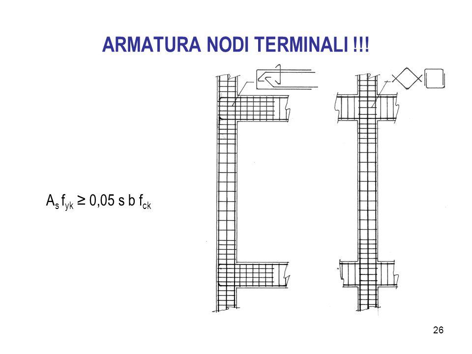 26 ARMATURA NODI TERMINALI !!! A s f yk ≥ 0,05 s b f ck