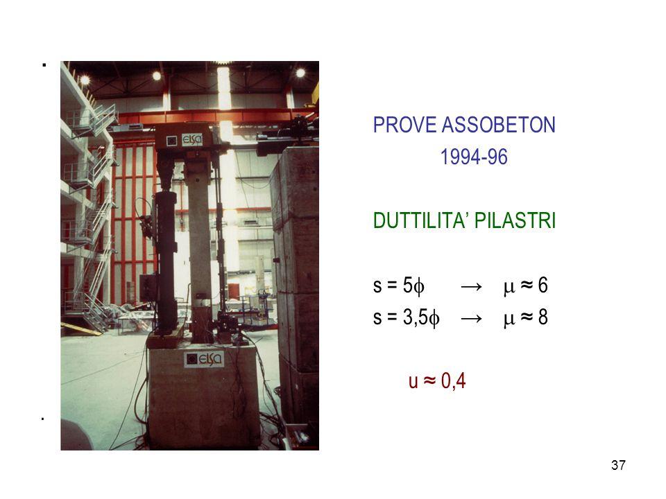 37. PROVE ASSOBETON 1994-96 DUTTILITA' PILASTRI s = 5  →  ≈ 6 s = 3,5  →  ≈ 8 u ≈ 0,4.