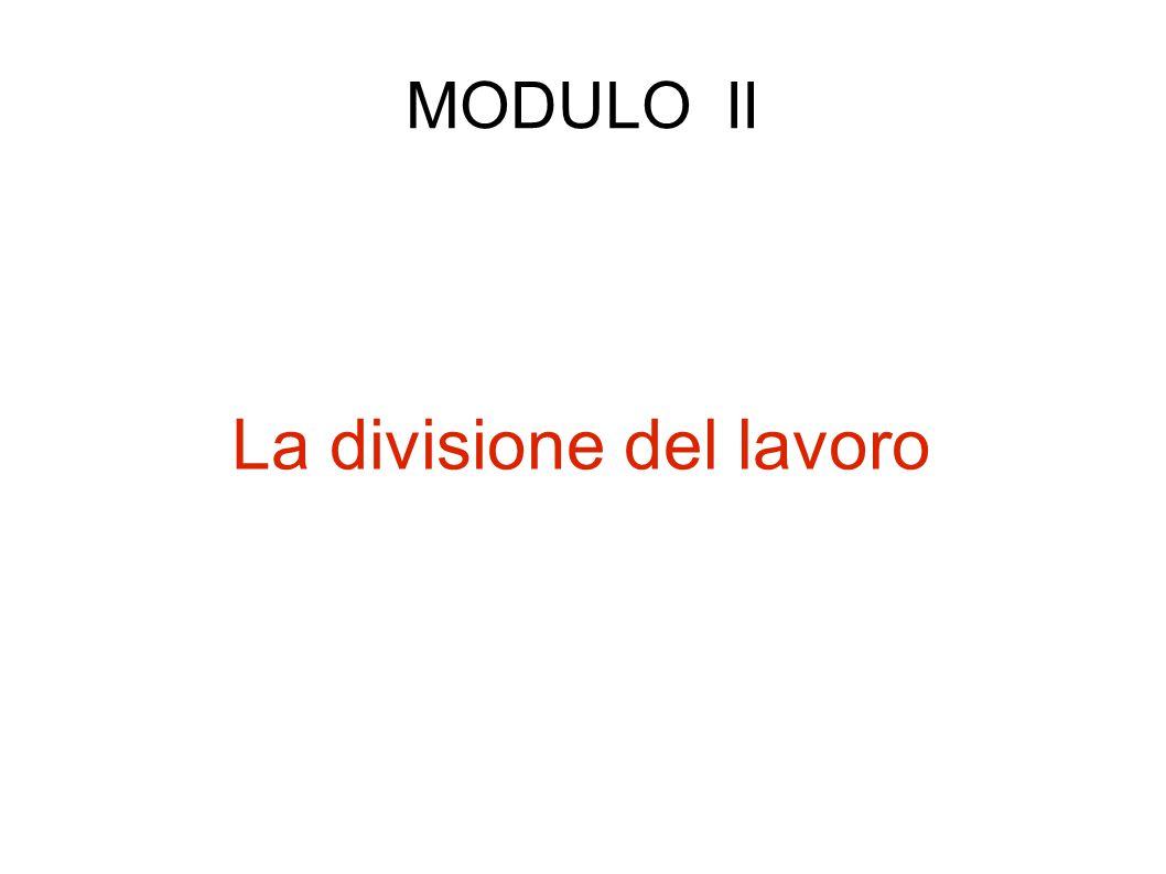 a) Vicissitudini della divisione del lavoro Testo di riferimento: M.