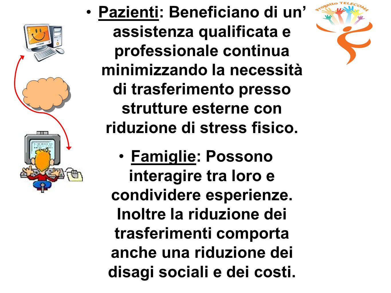 Pazienti: Beneficiano di un' assistenza qualificata e professionale continua minimizzando la necessità di trasferimento presso strutture esterne con riduzione di stress fisico.