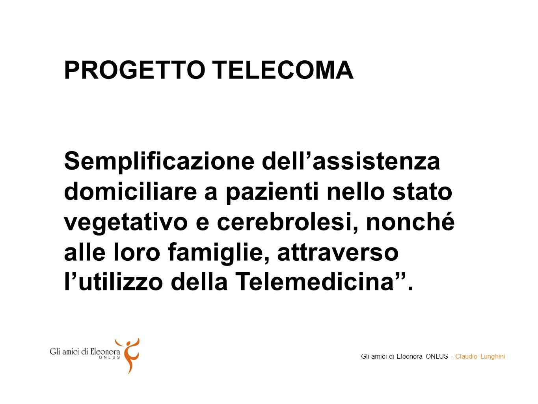 PROGETTO TELECOMA Semplificazione dell'assistenza domiciliare a pazienti nello stato vegetativo e cerebrolesi, nonché alle loro famiglie, attraverso l'utilizzo della Telemedicina .