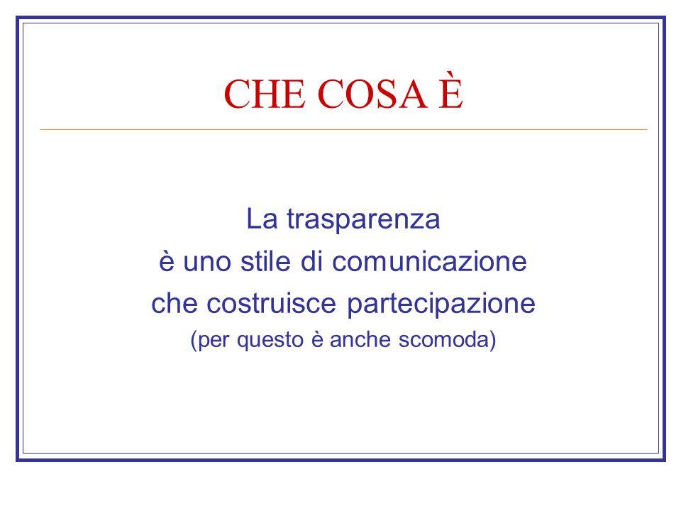 CHE COSA È La trasparenza è uno stile di comunicazione che costruisce partecipazione (per questo è anche scomoda)