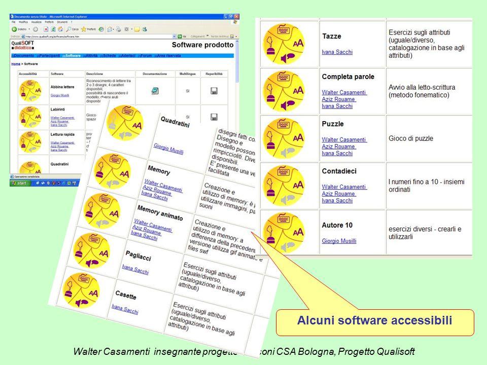 Walter Casamenti insegnante progetto Marconi CSA Bologna, Progetto Qualisoft Alcuni software accessibili