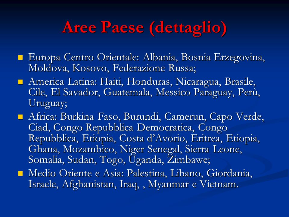 Aree Paese (dettaglio) Europa Centro Orientale: Albania, Bosnia Erzegovina, Moldova, Kosovo, Federazione Russa; Europa Centro Orientale: Albania, Bosn