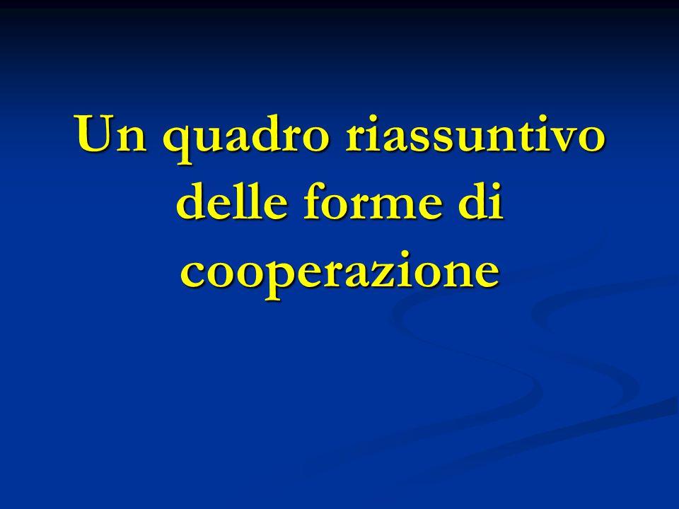 Un quadro riassuntivo delle forme di cooperazione