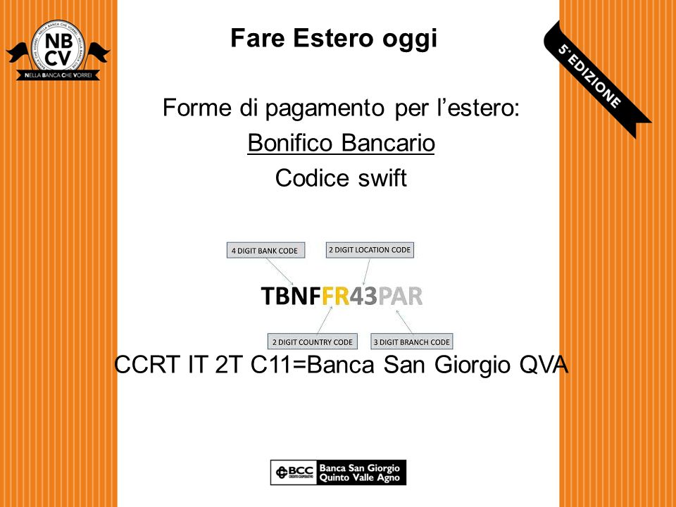 Fare Estero oggi Forme di pagamento per l'estero: Bonifico Bancario Codice swift CCRT IT 2T C11=Banca San Giorgio QVA
