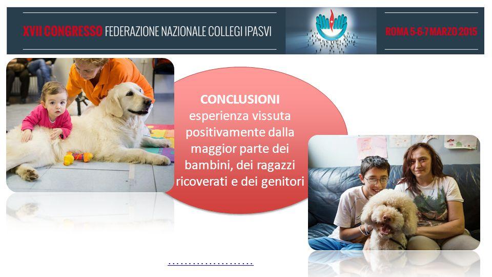 CONCLUSIONI esperienza vissuta positivamente dalla maggior parte dei bambini, dei ragazzi ricoverati e dei genitori CONCLUSIONI esperienza vissuta pos