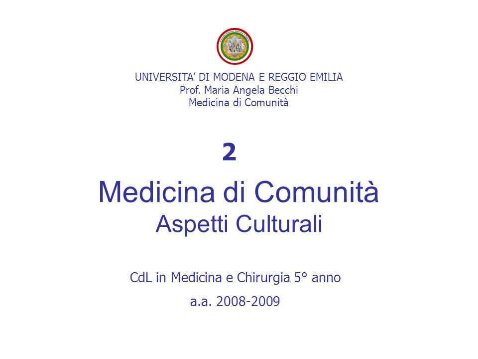 UNIVERSITA' DI MODENA E REGGIO EMILIA Prof. Maria Angela Becchi Medicina di Comunità Medicina di Comunità Aspetti Culturali CdL in Medicina e Chirurgi