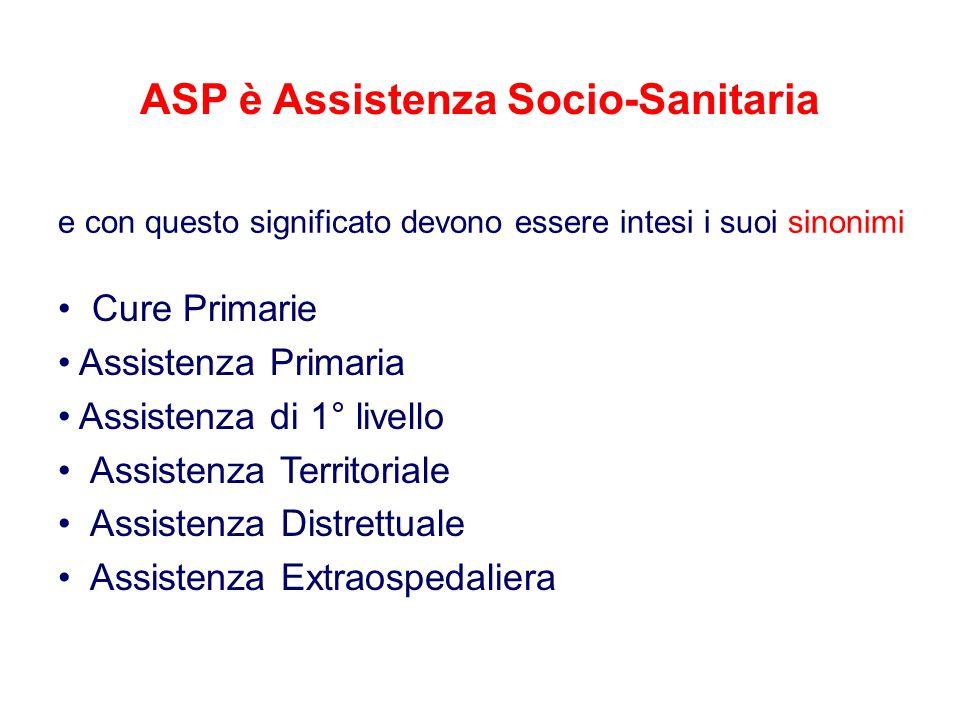 ASP è Assistenza Socio-Sanitaria e con questo significato devono essere intesi i suoi sinonimi Cure Primarie Assistenza Primaria Assistenza di 1° live