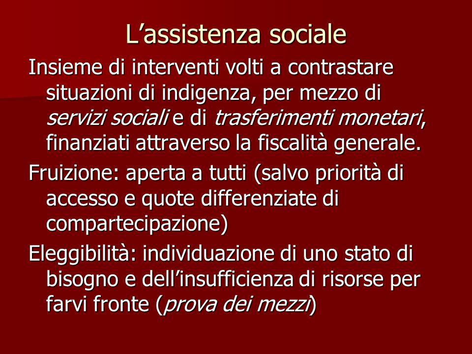 L'assistenza sociale Insieme di interventi volti a contrastare situazioni di indigenza, per mezzo di servizi sociali e di trasferimenti monetari, finanziati attraverso la fiscalità generale.