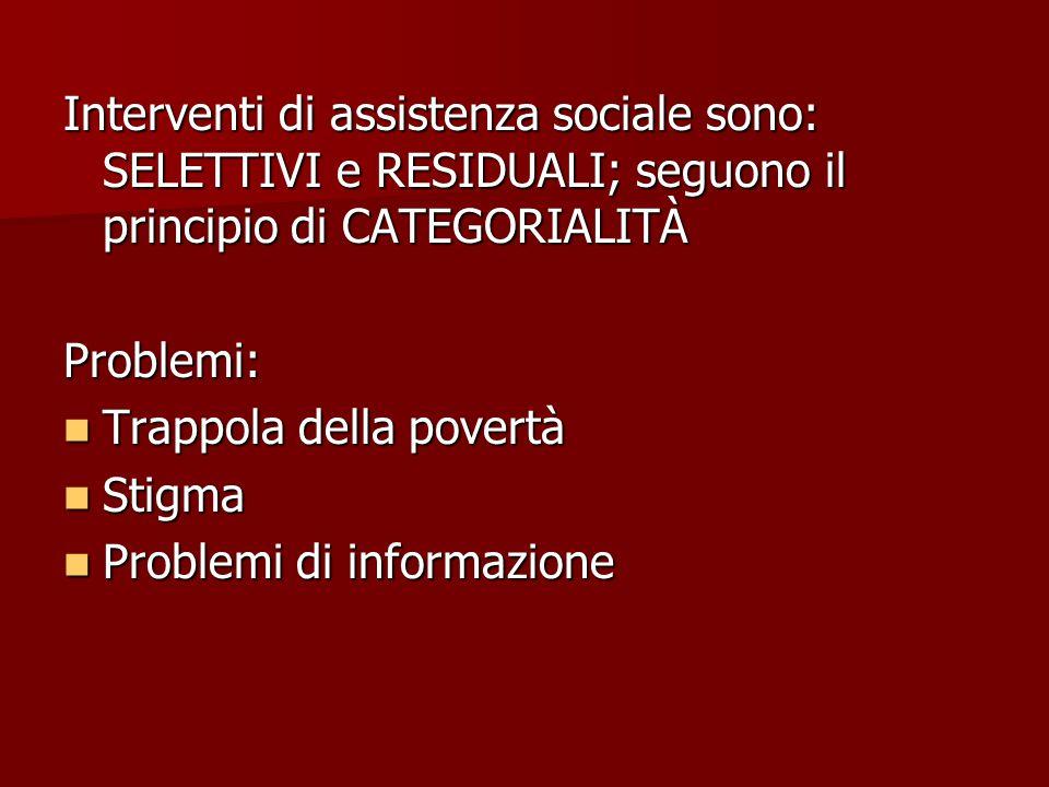 Interventi di assistenza sociale sono: SELETTIVI e RESIDUALI; seguono il principio di CATEGORIALITÀ Problemi: Trappola della povertà Trappola della povertà Stigma Stigma Problemi di informazione Problemi di informazione