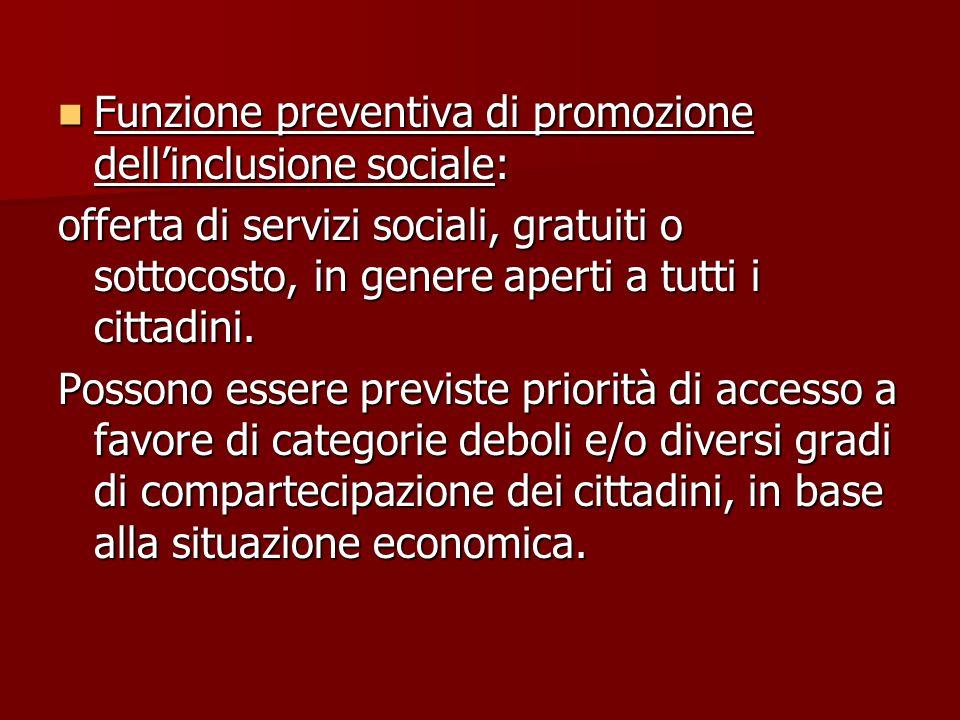 Funzione preventiva di promozione dell'inclusione sociale: Funzione preventiva di promozione dell'inclusione sociale: offerta di servizi sociali, gratuiti o sottocosto, in genere aperti a tutti i cittadini.