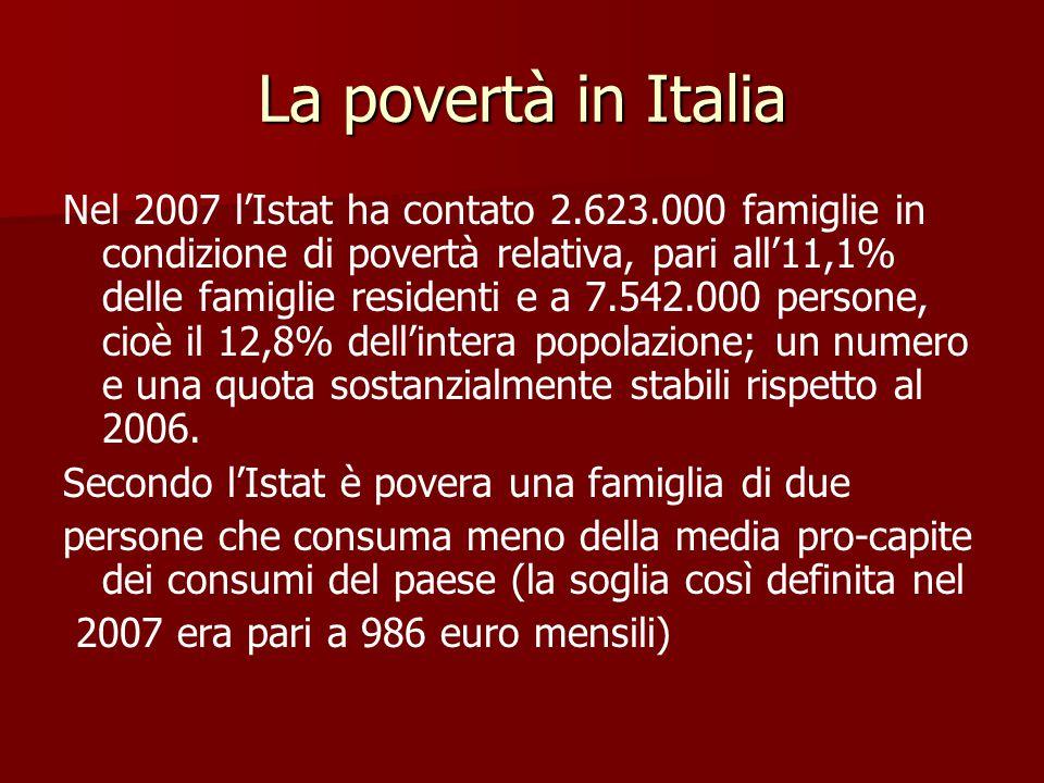 La povertà in Italia Nel 2007 l'Istat ha contato 2.623.000 famiglie in condizione di povertà relativa, pari all'11,1% delle famiglie residenti e a 7.542.000 persone, cioè il 12,8% dell'intera popolazione; un numero e una quota sostanzialmente stabili rispetto al 2006.