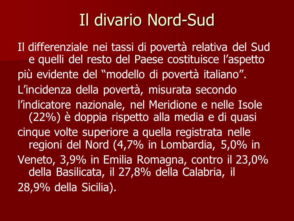 Il divario Nord-Sud Il differenziale nei tassi di povertà relativa del Sud e quelli del resto del Paese costituisce l'aspetto più evidente del modello di povertà italiano .