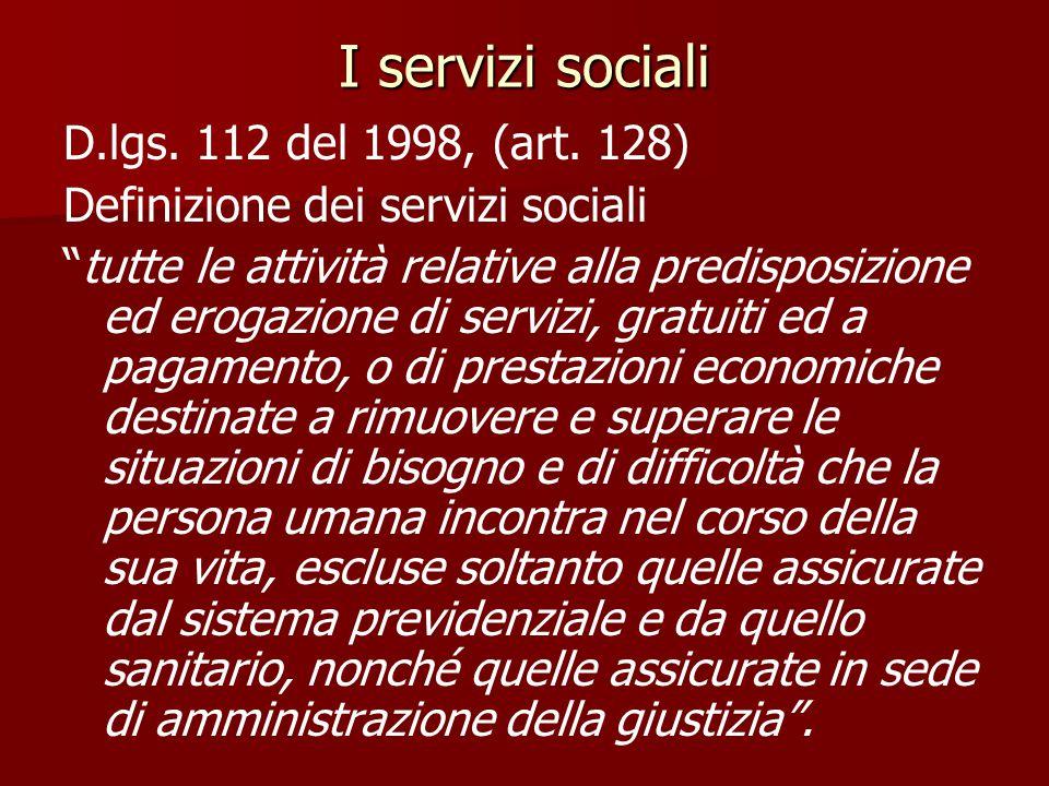 I servizi sociali D.lgs.112 del 1998, (art.