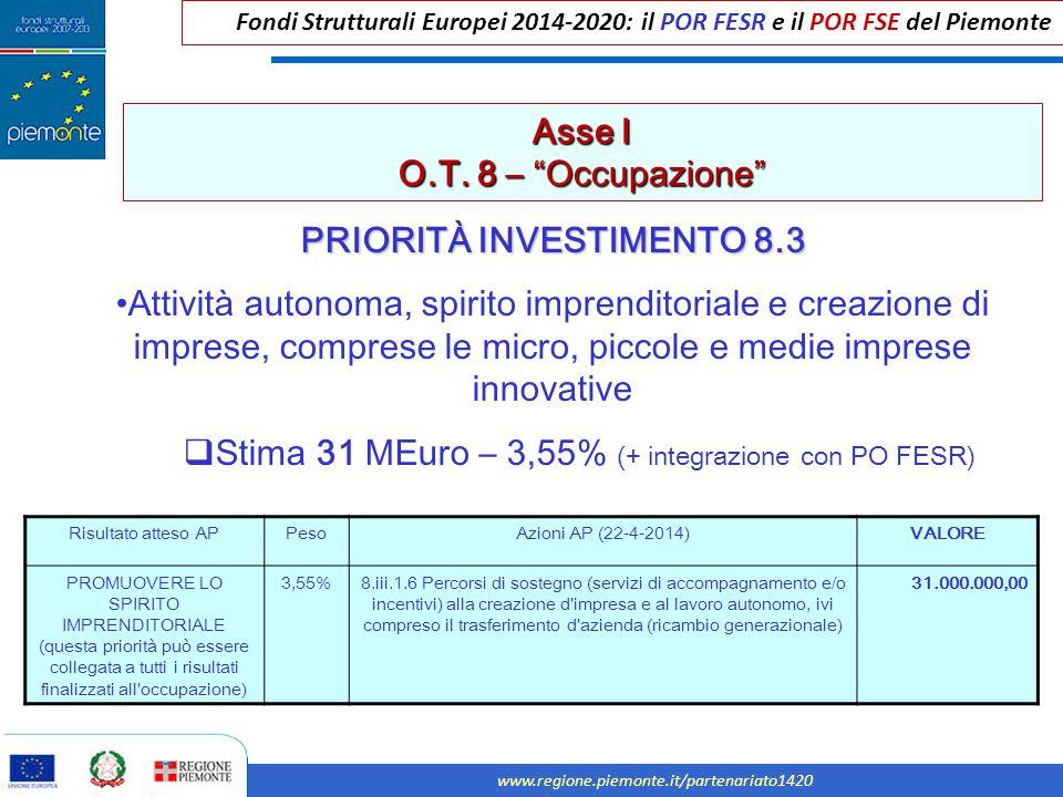"""Fondi Strutturali Europei 2014-2020: il POR FESR e il POR FSE del Piemonte www.regione.piemonte.it/partenariato1420 Asse I O.T. 8 – """"Occupazione"""" PRIO"""