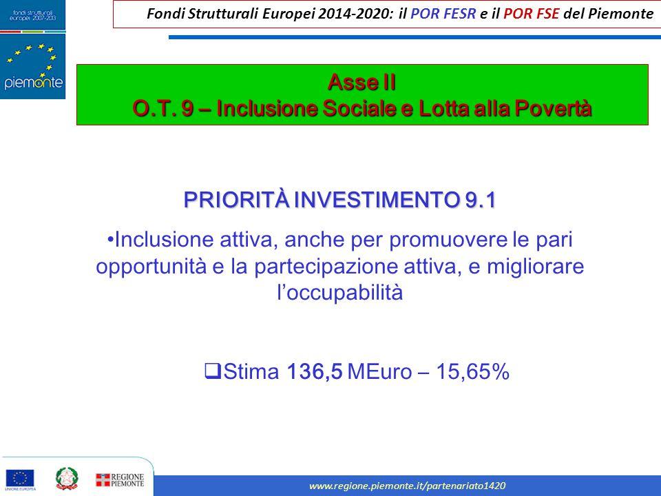 Fondi Strutturali Europei 2014-2020: il POR FESR e il POR FSE del Piemonte www.regione.piemonte.it/partenariato1420 Asse II O.T. 9 – Inclusione Social
