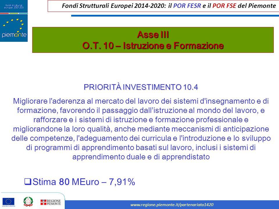 Fondi Strutturali Europei 2014-2020: il POR FESR e il POR FSE del Piemonte www.regione.piemonte.it/partenariato1420 Asse III O.T. 10 – Istruzione e Fo