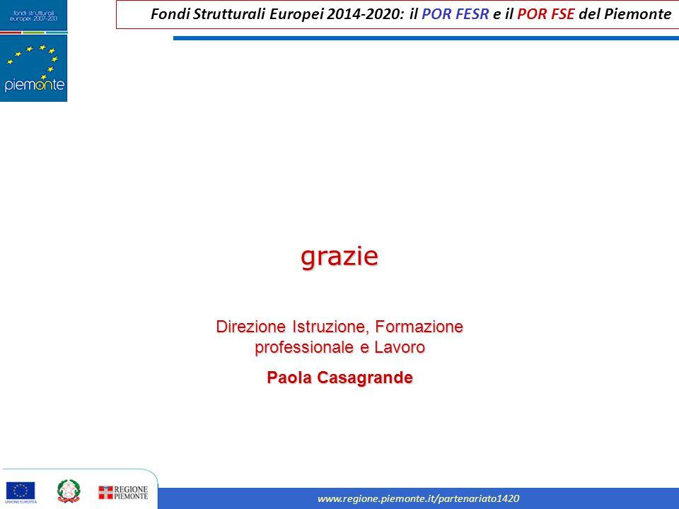 Fondi Strutturali Europei 2014-2020: il POR FESR e il POR FSE del Piemonte www.regione.piemonte.it/partenariato1420 grazie Direzione Istruzione, Forma