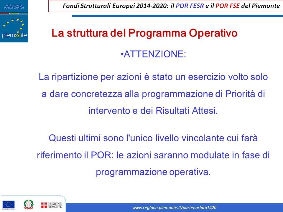 Fondi Strutturali Europei 2014-2020: il POR FESR e il POR FSE del Piemonte www.regione.piemonte.it/partenariato1420 ATTENZIONE: La ripartizione per az