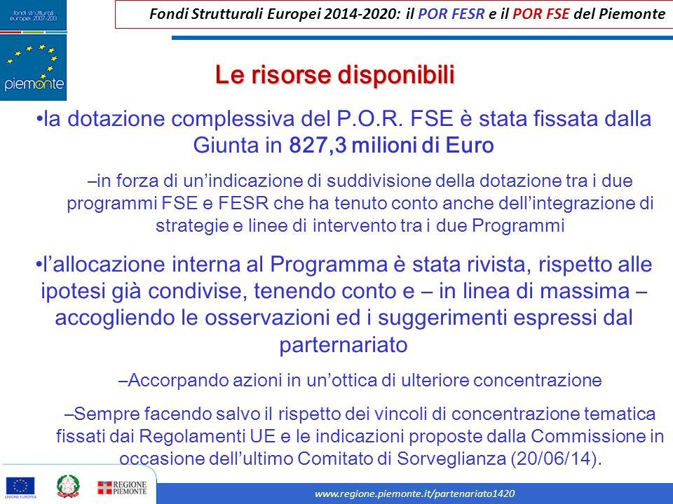 Fondi Strutturali Europei 2014-2020: il POR FESR e il POR FSE del Piemonte www.regione.piemonte.it/partenariato1420 la dotazione complessiva del P.O.R