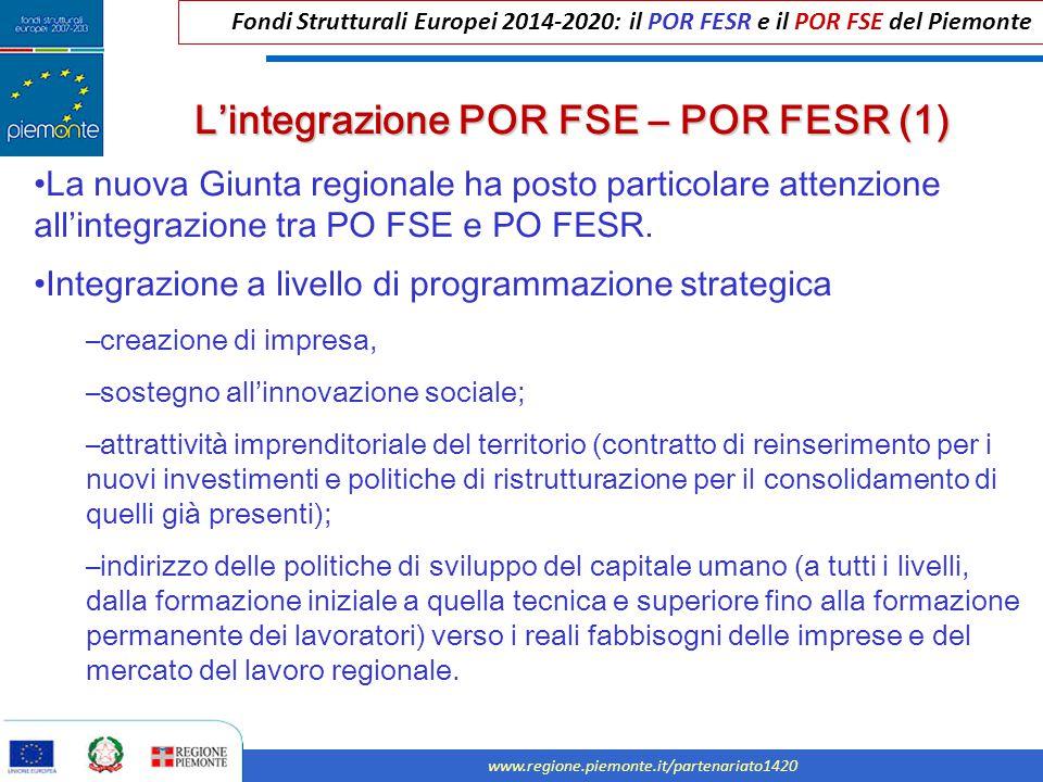 Fondi Strutturali Europei 2014-2020: il POR FESR e il POR FSE del Piemonte www.regione.piemonte.it/partenariato1420 La nuova Giunta regionale ha posto