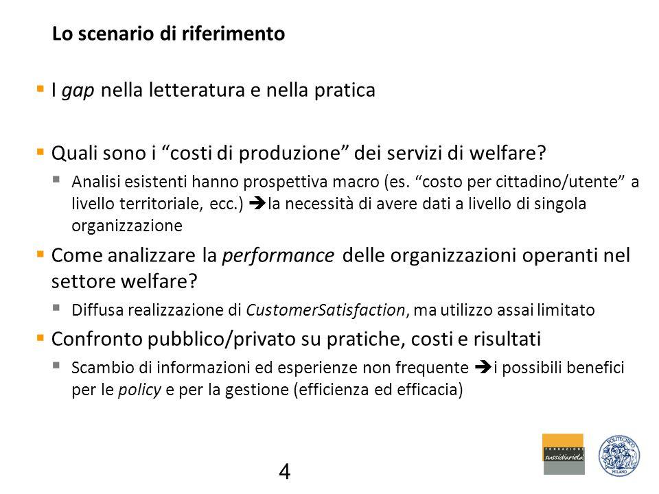 Lo scenario di riferimento  I gap nella letteratura e nella pratica  Quali sono i costi di produzione dei servizi di welfare.