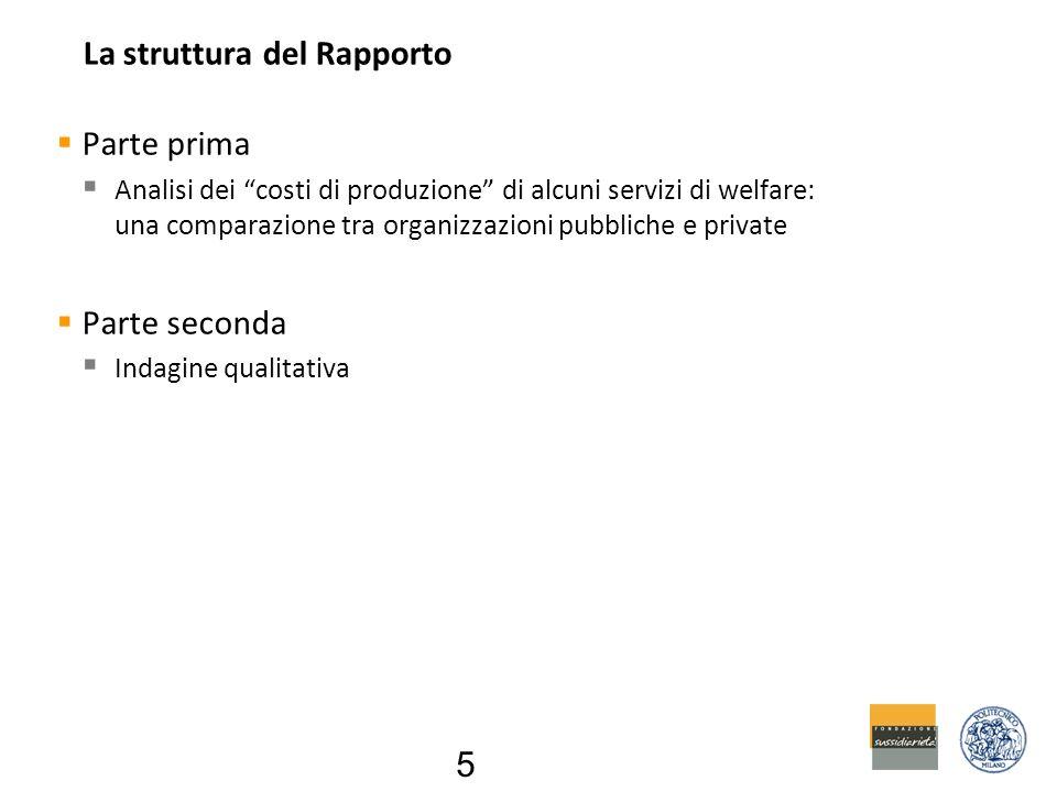 La struttura del Rapporto  Parte prima  Analisi dei costi di produzione di alcuni servizi di welfare: una comparazione tra organizzazioni pubbliche e private  Parte seconda  Indagine qualitativa 5
