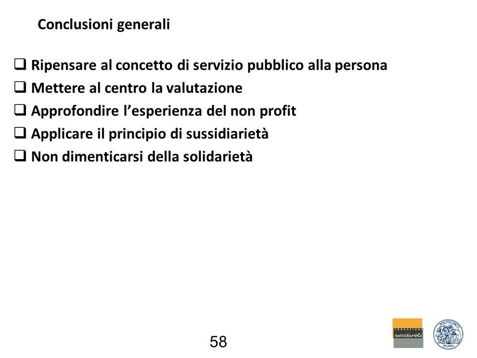  Ripensare al concetto di servizio pubblico alla persona  Mettere al centro la valutazione  Approfondire l'esperienza del non profit  Applicare il principio di sussidiarietà  Non dimenticarsi della solidarietà 58 Conclusioni generali