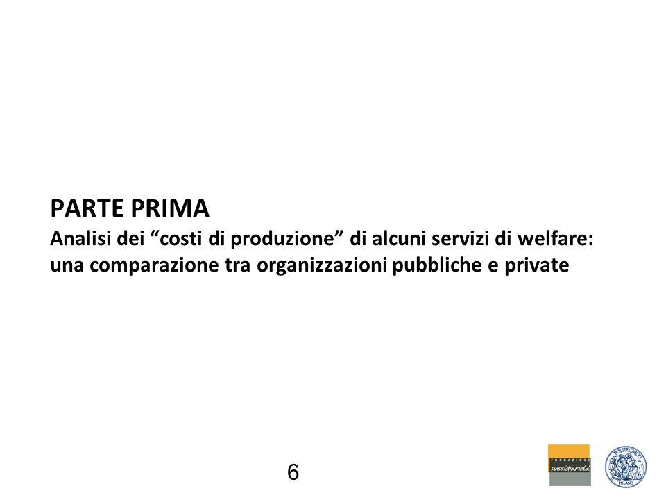 6 PARTE PRIMA Analisi dei costi di produzione di alcuni servizi di welfare: una comparazione tra organizzazioni pubbliche e private