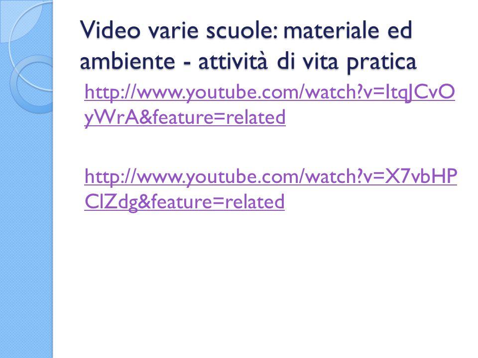 Video varie scuole: materiale ed ambiente - attività di vita pratica http://www.youtube.com/watch?v=ItqJCvO yWrA&feature=related http://www.youtube.com/watch?v=X7vbHP ClZdg&feature=related