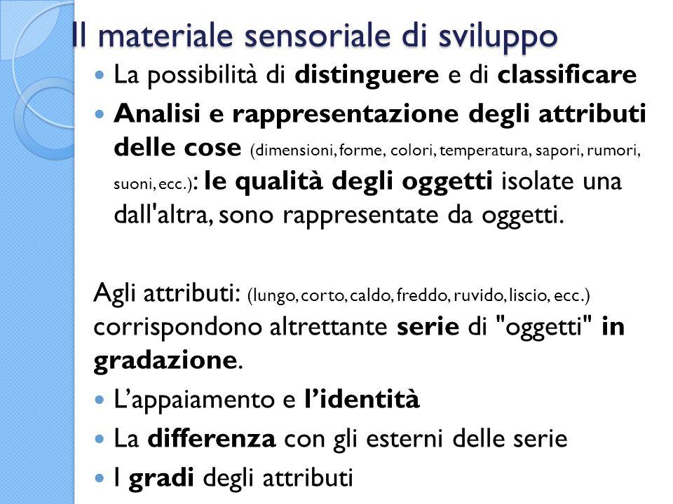 Il materiale sensoriale di sviluppo La possibilità di distinguere e di classificare Analisi e rappresentazione degli attributi delle cose (dimensioni,