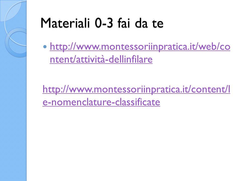 Materiali 0-3 fai da te http://www.montessoriinpratica.it/web/co ntent/attività-dellinfilare http://www.montessoriinpratica.it/web/co ntent/attività-dellinfilare http://www.montessoriinpratica.it/content/l e-nomenclature-classificate