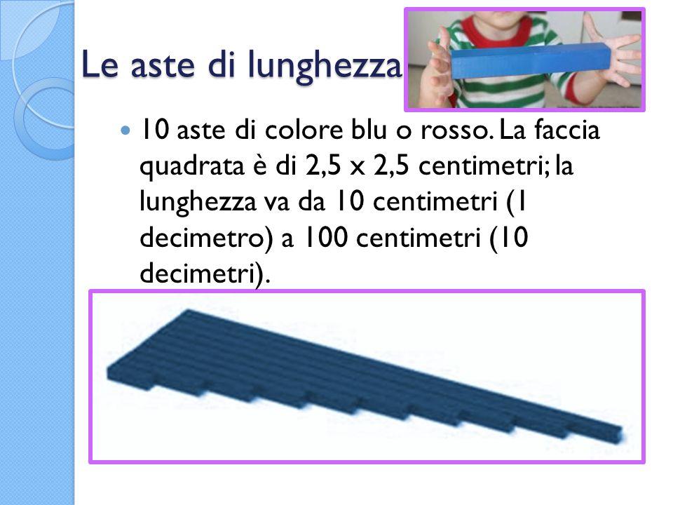 Le aste di lunghezza 10 aste di colore blu o rosso. La faccia quadrata è di 2,5 x 2,5 centimetri; la lunghezza va da 10 centimetri (1 decimetro) a 100