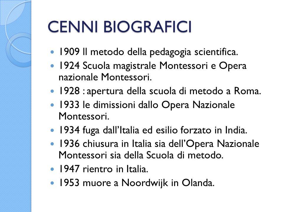 CENNI BIOGRAFICI 1909 ll metodo della pedagogia scientifica. 1924 Scuola magistrale Montessori e Opera nazionale Montessori. 1928 : apertura della scu
