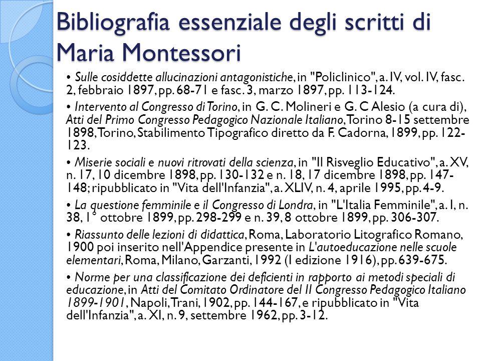 Bibliografia essenziale degli scritti di Maria Montessori Sulle cosiddette allucinazioni antagonistiche, in Policlinico , a.