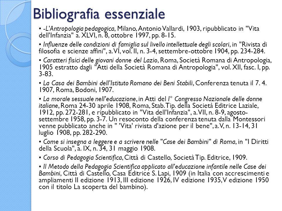 Bibliografia essenziale -L Antropologia pedagogica, Milano, Antonio Vallardi, 1903, ripubblicato in Vita dell Infanzia a.