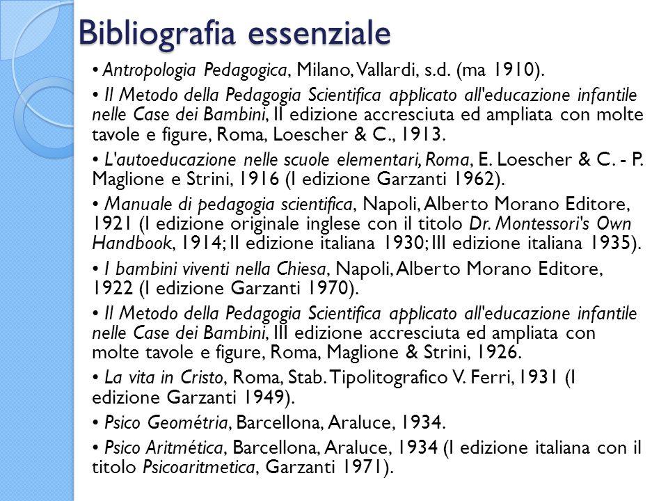 Bibliografia essenziale Antropologia Pedagogica, Milano, Vallardi, s.d. (ma 1910). Il Metodo della Pedagogia Scientifica applicato all'educazione infa