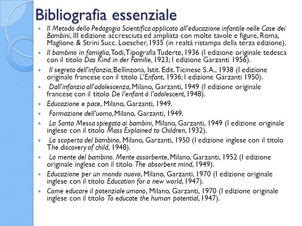 Bibliografia essenziale Il Metodo della Pedagogia Scientifica applicato all'educazione infantile nelle Case dei Bambini, III edizione accresciuta ed a