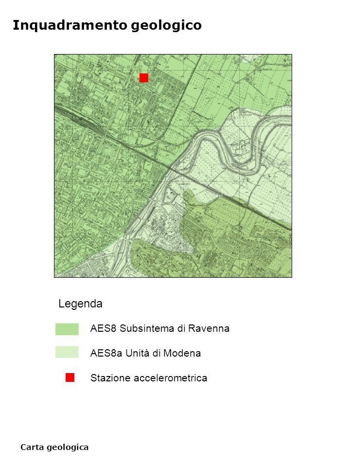 Carta geologica Inquadramento geologico Legenda AES8 Subsintema di Ravenna AES8a Unità di Modena Stazione accelerometrica