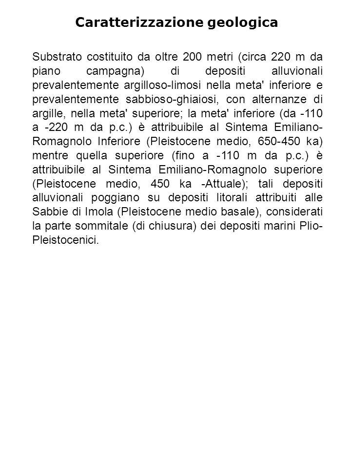 Caratterizzazione geologica Substrato costituito da oltre 200 metri (circa 220 m da piano campagna) di depositi alluvionali prevalentemente argilloso-limosi nella meta inferiore e prevalentemente sabbioso-ghiaiosi, con alternanze di argille, nella meta superiore; la meta inferiore (da -110 a -220 m da p.c.) è attribuibile al Sintema Emiliano- Romagnolo Inferiore (Pleistocene medio, 650-450 ka) mentre quella superiore (fino a -110 m da p.c.) è attribuibile al Sintema Emiliano-Romagnolo superiore (Pleistocene medio, 450 ka -Attuale); tali depositi alluvionali poggiano su depositi litorali attribuiti alle Sabbie di Imola (Pleistocene medio basale), considerati la parte sommitale (di chiusura) dei depositi marini Plio- Pleistocenici.