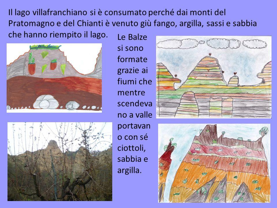Il lago villafranchiano si è consumato perché dai monti del Pratomagno e del Chianti è venuto giù fango, argilla, sassi e sabbia che hanno riempito il lago.